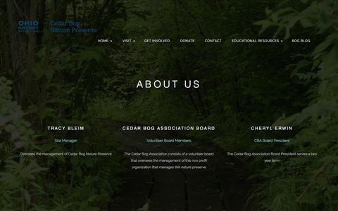 Screenshot of About Page cedarbognp.org - Cedar Bog website     Team - captured June 1, 2016