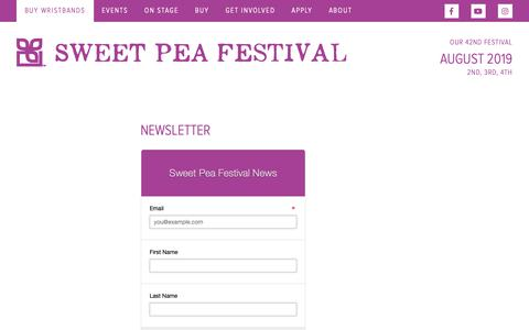 Screenshot of Signup Page sweetpeafestival.org - Newsletter - Sweet Pea Festival - captured Oct. 18, 2018