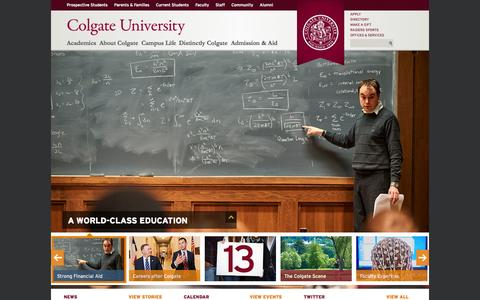 Screenshot of Home Page colgate.edu - Colgate University - A Top Liberal Arts School in Central New York - captured Oct. 1, 2015