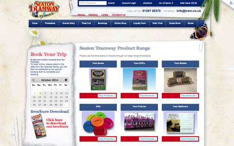 Screenshot of Products Page tram.co.uk - Seaton Tramway Product Range from Seaton Tramway - captured Oct. 6, 2014