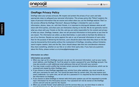 Screenshot of Privacy Page myonepage.com - OnePage - interactive contact cards - captured Sept. 23, 2014