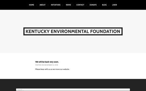 Screenshot of Home Page kyenvironmentalfoundation.org - Kentucky Environmental Foundation - captured Dec. 20, 2018