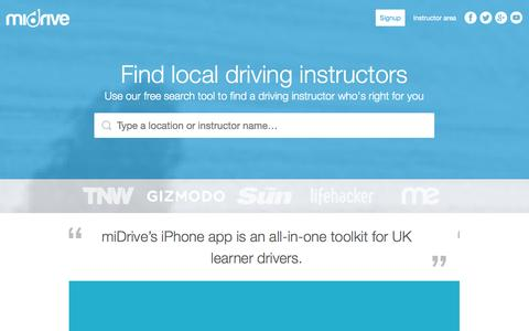 Screenshot of Home Page midrive.com - miDrive - The essential driving lesson toolkit | miDrive - captured Sept. 30, 2014