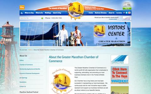 Screenshot of About Page floridakeysmarathon.com - Greater Marathon Chamber of Commerce | About the Greater Marathon Chamber of Commerce - captured Oct. 3, 2014