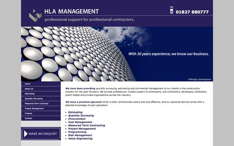 Screenshot of About Page hlamanagement.co.uk - HLA Management | Professional support for professional contractors - captured Oct. 1, 2014