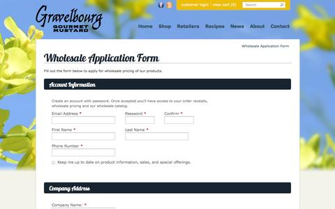 Screenshot of Signup Page gravelbourgmustard.ca - Wholesale Application Form - captured Sept. 30, 2014