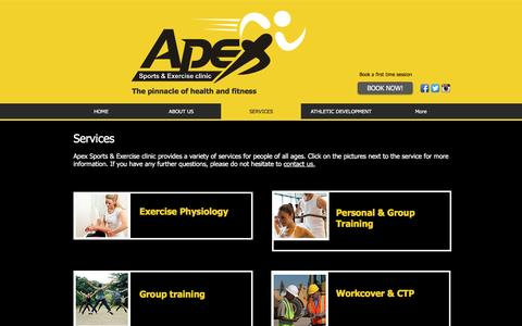 Screenshot of Services Page apexsportsclinic.com.au - APEX sports & exercise clinic- Exercise Physiology | Injury management | SERVICES - captured Nov. 21, 2016