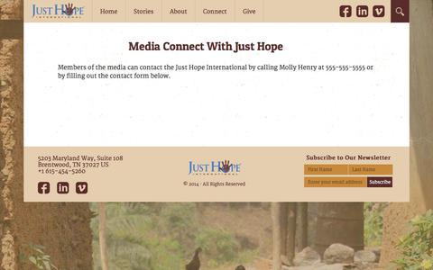 Screenshot of Press Page justhopeinternational.org - Just Hope International | Media - captured Sept. 30, 2014