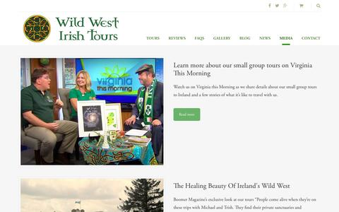 Screenshot of Press Page wildwestirishtours.com - Media - Wild West Irish Tours - captured Oct. 26, 2017
