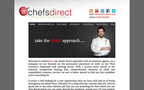 Screenshot of Home Page chefs-direct.com - Chef recruitment South West - Chef jobs South West - captured Oct. 2, 2014