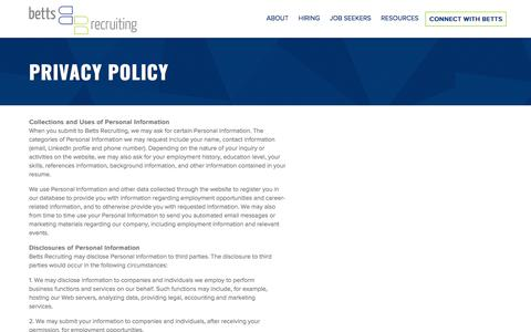 Betts Recruiting Privacy Policy Information