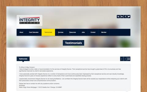 Screenshot of Testimonials Page intescrow.com - Integrity Escrow » Testimonials - captured Oct. 6, 2014