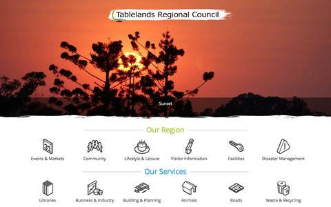 Screenshot of Home Page trc.qld.gov.au - TRC - Tablelands Regional Council - TRC Atherton Tablelands Local Government - captured Feb. 22, 2016