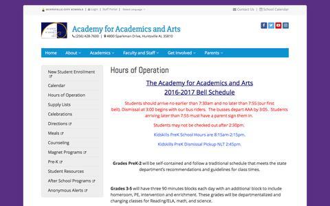 Screenshot of Hours Page huntsvillecityschools.org - Hours of Operation | Academy for Academics and Arts | Huntsville City Schools - captured Jan. 4, 2017