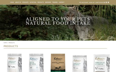 Screenshot of Products Page edenpetfoods.com - Products - captured July 16, 2017