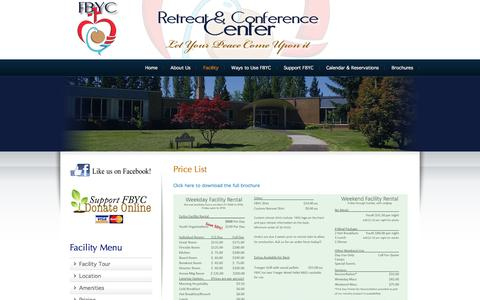 Screenshot of Pricing Page fbyc.info - Price List | Fr. Bernard Youth Center - Mount Angel Retreats & Conferences - captured Jan. 8, 2016