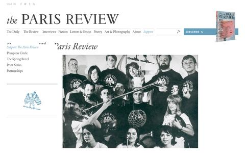 Screenshot of Support Page theparisreview.org - Paris Review - Writers, Quotes, Biography, Interviews, Artists - captured Oct. 30, 2017