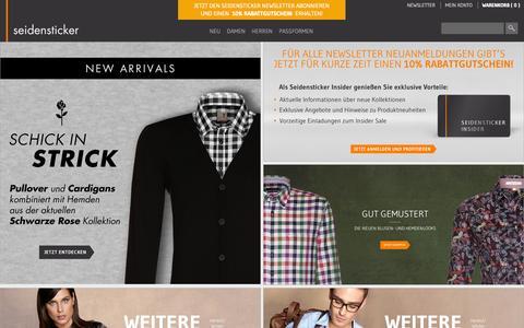 Screenshot of Home Page seidensticker.com - Hemden Online Shop & Blusen Online Shop | Seidensticker - captured Sept. 19, 2014