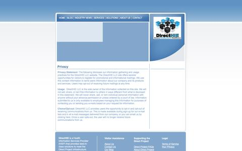 Screenshot of Privacy Page directhie.com - Contact Us - captured Jan. 24, 2016