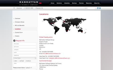 Screenshot of Locations Page manhattansoftware.com - Locations - Manhattan Software, A Trimble Company - captured Sept. 19, 2014