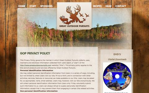 Screenshot of Privacy Page greatoutdoorpursuits.com - GOP Privacy Policy   Great Outdoor Pursuits - captured July 24, 2018