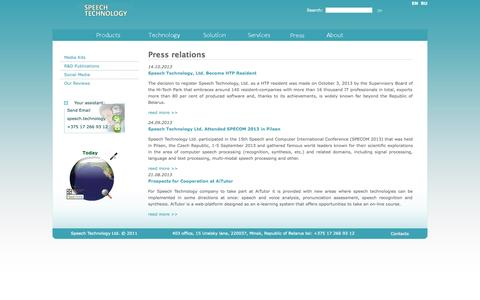 Screenshot of Press Page speetech.com - Press relations | Speech Technology - synthesis and recognition, recording, processing, analysis of speech. - captured Oct. 6, 2014