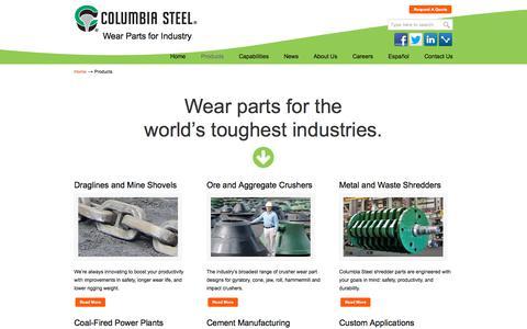 Screenshot of Products Page columbiasteel.com - Industrial Castings & Wear Parts | Columbia Steel - captured Nov. 13, 2019