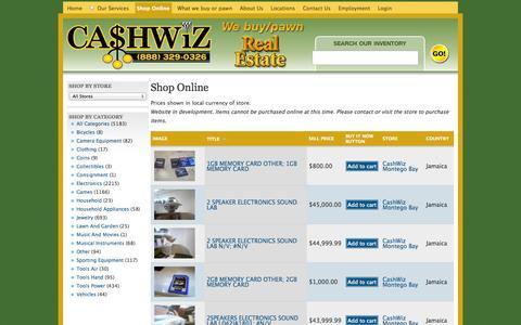 Screenshot of Products Page cashwiz.com - Shop Online | CashWiz - captured Oct. 2, 2014