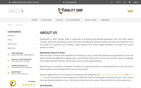 Screenshot of About Page quality-shop.com - Online Shop For Men - Quality Shoes, Accessories and Clothing - Quality Shop - captured Oct. 21, 2018