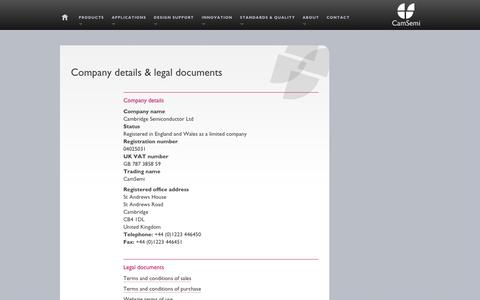 Screenshot of Terms Page camsemi.com - CamSemi | About | Company details & legal documents - captured Sept. 13, 2014
