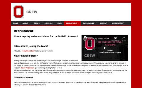 Screenshot of Signup Page osucrew.org - Recruitment - captured Oct. 18, 2018