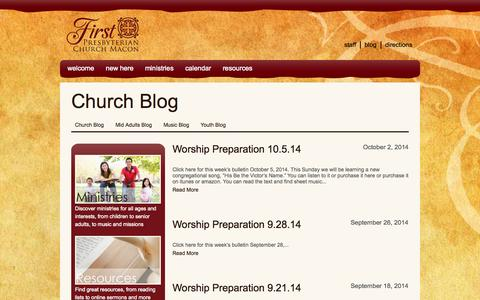 Screenshot of Blog fpcmacon.org - Church Blog Archives - First Presbyterian Church - captured Oct. 6, 2014