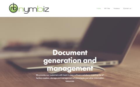 Screenshot of Home Page nymbiz.com - Nymbiz Document Solutions - captured Aug. 11, 2015