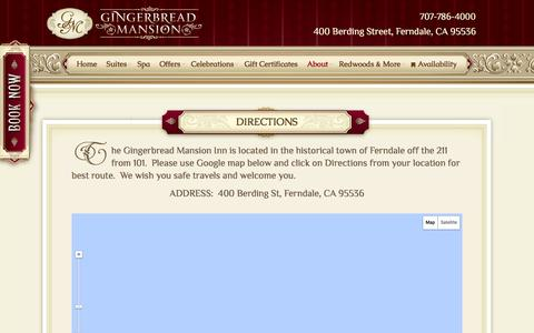 Screenshot of Maps & Directions Page gingerbread-mansion.com - Directions - Gingerbread Mansion Bed & Breakfast Inn - captured Jan. 28, 2016