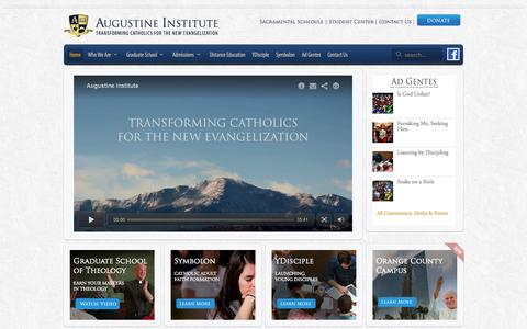 Screenshot of Home Page augustineinstitute.org - Augustine Institute | Catholic Theology School | Masters | Distance Education | New Evangelization Programs - captured Sept. 30, 2014