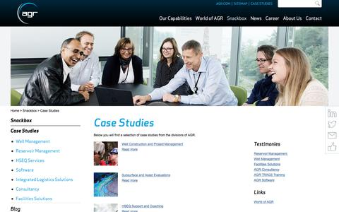 Screenshot of Case Studies Page agr.com - Case Studies - AGR - Upstream Services, Training & Software - captured Oct. 6, 2017