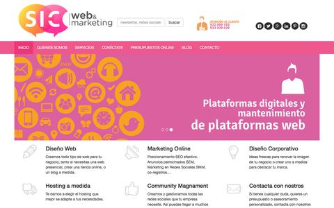 Screenshot of Home Page sicwebmarketing.com - Desarrollo Web y Marketing Online en Tenerife - SIC Web & Marketing - captured Dec. 19, 2015