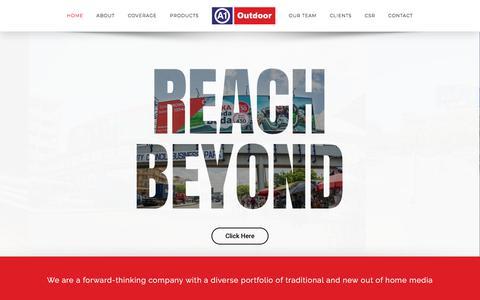 Screenshot of Home Page a1outdoor.co.tz - A1 Outdoor   Reach Beyond Through Outdoor Advertising - captured Feb. 18, 2018