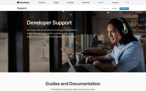 Screenshot of Support Page apple.com - Support - Apple Developer - captured June 4, 2019