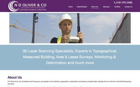 Screenshot of About Page ndoliver.com - N D Oliver - Chartered Land Surveyors & Geomaticians, Manchester UK - About Us - captured Nov. 18, 2016