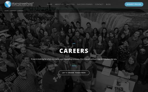 Screenshot of Jobs Page mainstreethost.com - Career Opportunities at Mainstreethost | Buffalo | Las Vegas - captured Oct. 1, 2017