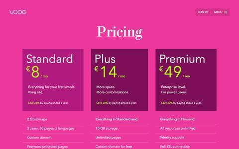 Screenshot of Pricing Page voog.com - Pricing — Voog - captured March 2, 2016