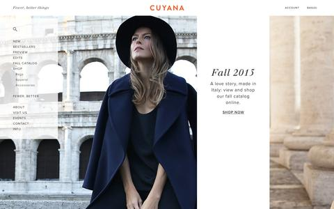 Screenshot of Home Page cuyana.com - Cuyana | Women's Premium Essentials. | Fewer, Better Things. - captured Oct. 1, 2015