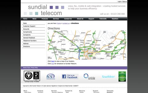 Screenshot of Maps & Directions Page sundialtele.com - Directions - captured Oct. 10, 2014