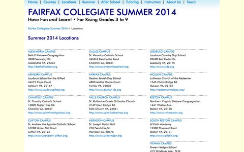 Screenshot of Locations Page fairfaxcollegiate.com - Fairfax Collegiate Summer 2014 > Locations - captured Oct. 5, 2014