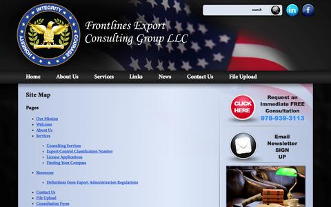 Screenshot of Site Map Page frontlinesllc.com - Site Map | Frontlines Export Consulting Group, LLC. - captured Oct. 1, 2014