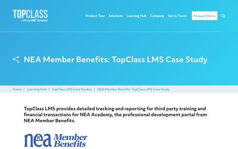 Screenshot of Case Studies Page wbtsystems.com - NEA Member Benefits: TopClass LMS Case Study | WBT Systems - captured Jan. 11, 2020