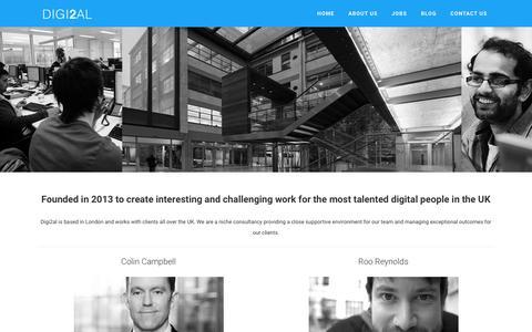 Screenshot of About Page digi2al.co.uk - Digi2al - About Us - captured Feb. 9, 2016