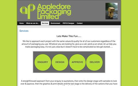 Screenshot of Services Page appledore-packaging.co.uk - Services » appledore-packaging.co.uk - captured Feb. 6, 2016