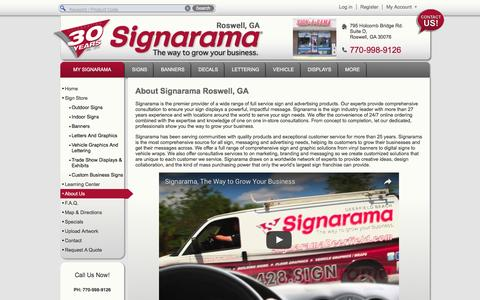 Screenshot of About Page signarama.com - About Us | Signarama Roswell, GA - captured Nov. 9, 2016